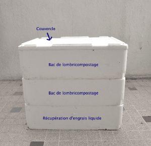 Lombricomposteur fait à partir de bacs en frigolite