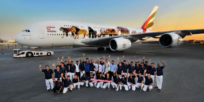 airbus A380 décoré avec des photos d'animaux menacés