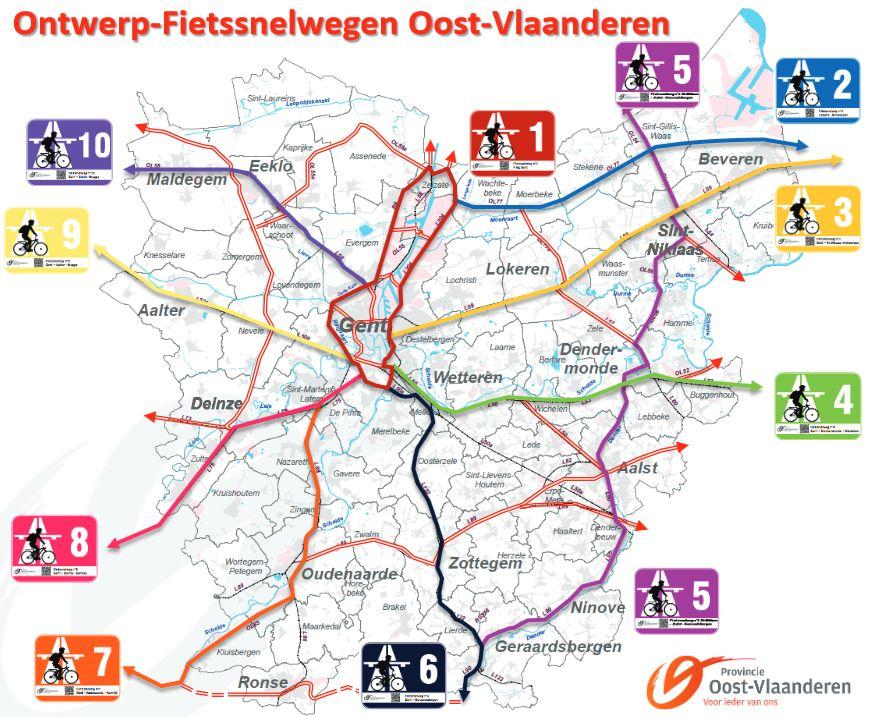 Le plan du réseau d'autoroutes à vélos | Source : www.oost-vlaanderen.be