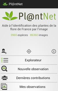 Accueil application Plantnet